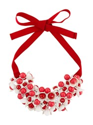 P.A.R.O.S.H. Floral Motif Short Necklace Red
