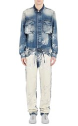 Off White C O Virgil Abloh Men's Paint Splattered Carpenter Jumpsuit Blue Blue White