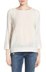 Caslonr Petite Women's Caslon Embroidered Crinkle Cotton Blend Top Ivory Cloud