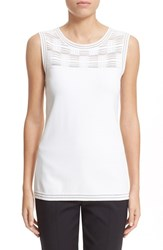 Women's St. John Collection Transparent Grid Jersey Knit Shell Bianco