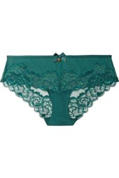 Chantelle Orangerie Lace Trimmed Stretch Jersey And Tulle Briefs Green