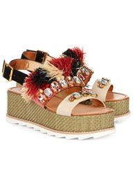 Sanchita Multi Raffia Flatform Maarit Sandals Print