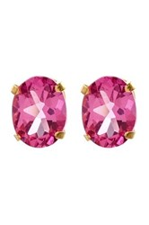 Savvy Cie 14K Yellow Gold Faceted Oval Hot Pink Mystic Topaz Stud Earrings