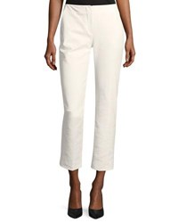 Emporio Armani Straight Leg Cropped Cotton Blend Pants White