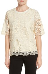 Pleione Women's Lace Top Natural