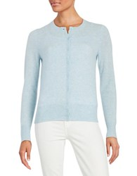Lord And Taylor Basic Crewneck Cashmere Cardigan Sky Blue Heather