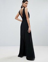 Asos Halter Floating Neck Strap Back Maxi Dress Black
