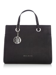 Armani Exchange Denim Medium Shopper Tote Black