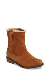 Sole Society Women's Verona Faux Shearling Boot Cognac Suede