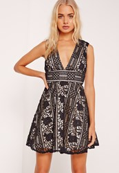Missguided Lace Plunge Skater Dress Black