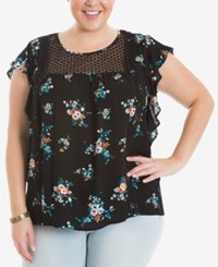 Eyeshadow Trendy Plus Size Flutter Sleeve Illusion Top Black
