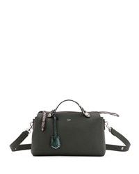 Fendi By The Way Small Leather And Snakeskin Satchel Bag Green Silver Green Silver