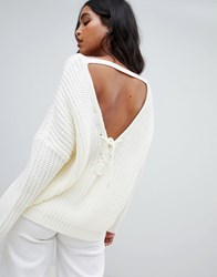 Micha Lounge Oversized Jumper With Back Detail White