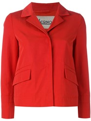 Herno Fitted Cropped Jacket Women Cotton Polyester Polyethylene Acetate 46 Red