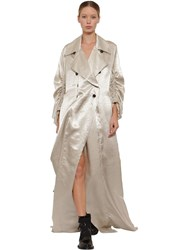 Ann Demeulemeester Long Double Breasted Satin Trench Coat Beige