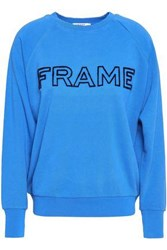 Frame Embroidered French Cotton Terry Sweatshirt Blue