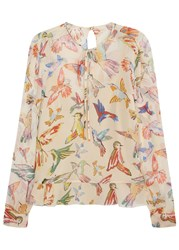 Red Valentino Cream Bird Print Silk Chiffon Blouse