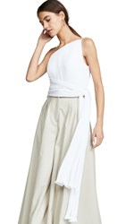 Brandon Maxwell Asymmetric Pleated Top With Side Drape White