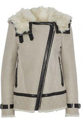 Belstaff Marsh Leather Trimmed Suede And Shearling Hooded Jacket Neutral