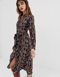 Warehouse Shirt Dress In Snake Print Yellow