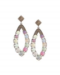 Bavna Multicolored Sapphire And Champagne Diamond Dangle Earrings