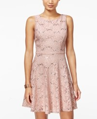 Speechless Juniors' Sequined Lace A Line Dress Dusty Rose