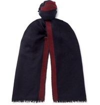 Lanvin Striped Cashmere And Silk Blend Scarf Navy
