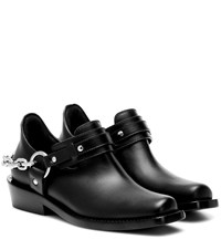 Paco Rabanne Moto Leather Ankle Boots Black