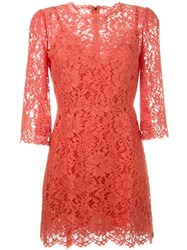 Dolce And Gabbana Floral Lace Dress Yellow And Orange