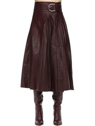 Dodo Bar Or Belted Leather Midi Skirt W Pleats Bordeaux