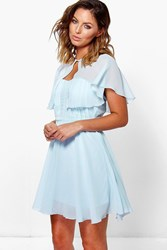 Boohoo Chiffon Bandeau Skater Dress With Cape Sky
