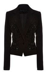 Elie Saab Embroidered Crepe Cady Blazer Black