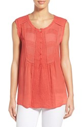 Women's Lucky Brand Embroidered Sleeveless Top Bittersweet Red