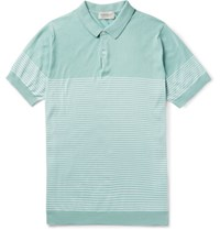 John Smedley Kiefer Striped Cotton Polo Shirt Mint