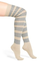 Women's Free People Rugby Stripe Over The Knee Socks Grey