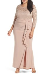 Marina Plus Size Women's Cascade Lace And Jersey Gown Nude