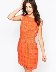 Lavand Textured Grid Shift Dress O