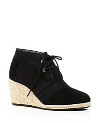 Toms Lace Up Espadrille Wedge Booties Desert