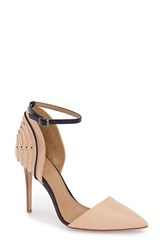 Women's L.A.M.B. 'Hamden' Pointy Toe D'orsay Pump Nude Blue Leather