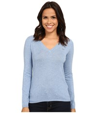 Lacoste Long Sleeve Cotton Double Overlay V Neck Sweater Cloud Blue Women's Long Sleeve Pullover
