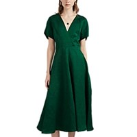 Martin Grant Slub Linen Blend Midi Dress Green
