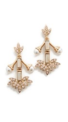 Oscar De La Renta Crystal Baguette Leaf Earrings Bisque