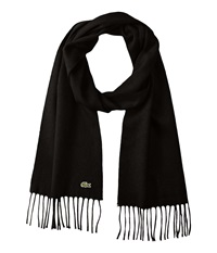 Lacoste Wool Cashmere Twill Scarf Black Scarves