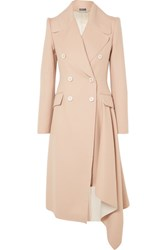 Alexander Mcqueen Asymmetric Double Breasted Frayed Wool And Cashmere Blend Coat Beige