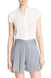 Alice Olivia Jaclyn Pintuck Blouse White