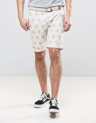 Bellfield Chino Shorts In Palm Print With Belt Lt Stone