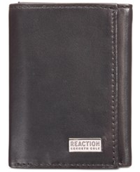 Kenneth Cole Reaction Nappa Leather Extra Capacity Tri Fold Wallet Black