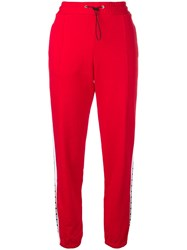 Msgm Side Logo Stripe Track Pants Red