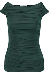 Bailey 44 Charming Off The Shoulder Ruched Jersey Top Emerald