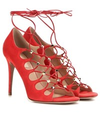 Valentino Rockstud Suede Lace Up Sandals Red
